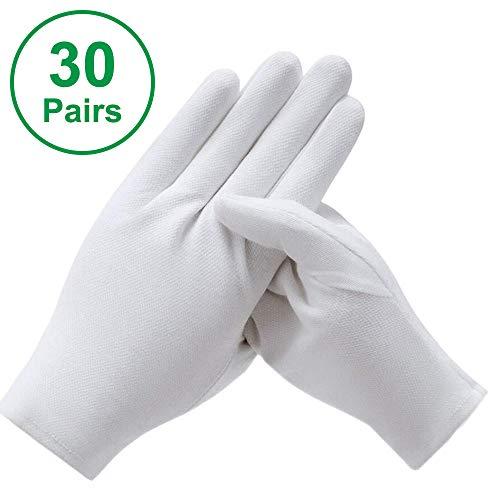 30 Paar Baumwollhandschuhe Weiß, 21 x 9 cm Baumwolle Handschuhe Stoff Handschuhe, Bequem und Atmungsaktiv Arbeitshandschuhe für Hautpflege, Schmuck Untersuchen, Tägliche Arbeit (XXL)