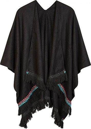 styleBREAKER Capa con Ribetes en Punto étnico y deshilachados en Color de Contraste, Poncho, señora 08010029