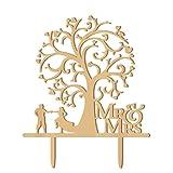 WINOMO Mr Mrs Herz Baum Holz Brautpaar als Tortendekoration Hochzeitsdekoration