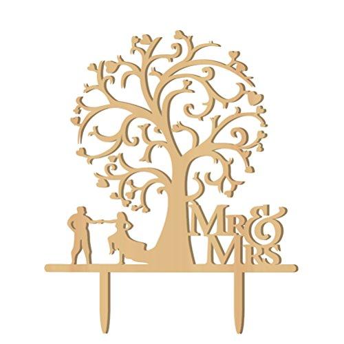WINOMO Mr Mrs Herz Baum Holz Brautpaar als Tortendekoration Hochzeitsdekoration Kuchenaufsätze