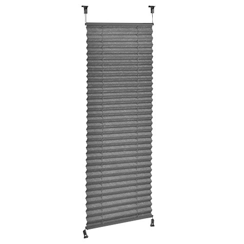 [neu.haus] Klemmfix Plissee 40 x 125 cm grau Sonnen und Lichtschutz Blickdicht Bohren entfällt