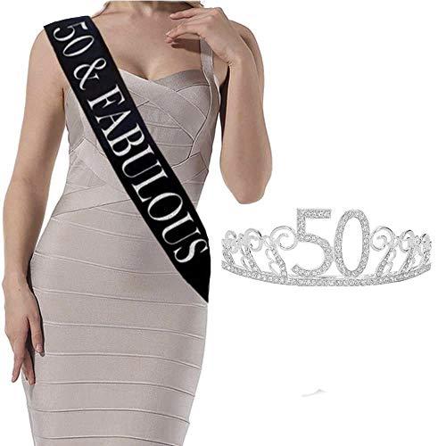 "Atlecko 50th Birthday Sash & Tiara Set - Luxury ""50 and Fabulous"" Black Glitter Satin Sash and Tiara for Women – Happy 50th Birthday Gifts for Women & Party Supplies"