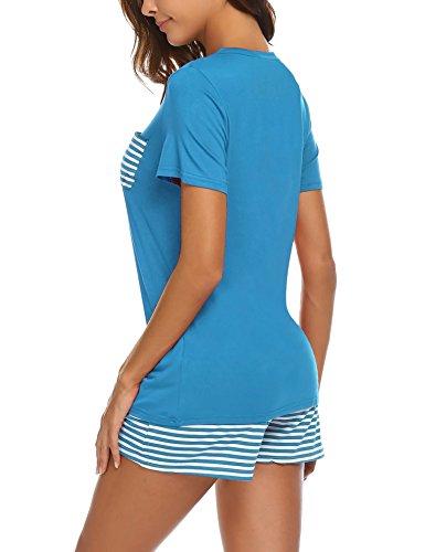 UNibelle Unibelle Damen Schlafanzug Kurz Sommer Pyjama Nachtwäsche Hausanzug Kurzarm Rund Ausschnitt