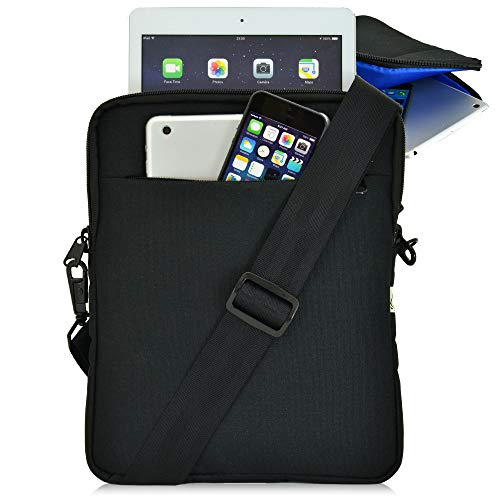 Turtleback Tablet Bag for iPad Pro and Other Tablets with Shoulder Strap Pouch Bag for Universal Tablets - Fits Devices up to 10.5' Inch with Cases - (Black/Blue), Made in USA