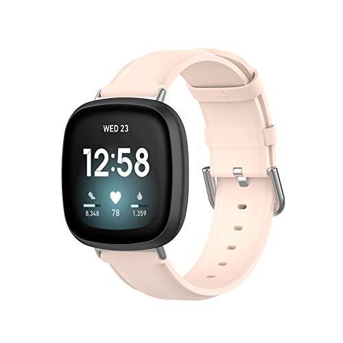 MAKACTUA Rem kompatibel för Fitbit Sense rem/Fitbit Versa 3 rem män kvinnor, läder justera sport fitness armband för Fitbit Versa 3/Sense