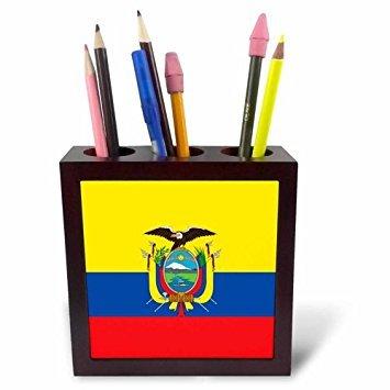 3drose PH 158307 1 vlag ecuador-south America american-ecuadorian geel blauw rood-condor Bird vacht van de arms-tile balpen houder, 12,7 cm