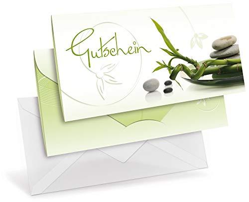 Gutscheinkarten (10 Stück) mit transparenten Briefumschlägen - Geschenkgutscheine für Physiotherapie, Yoga, Wellness - DIN lang Faltkarte verschließbar, blanko Vordruck zum Eintragen der Werte