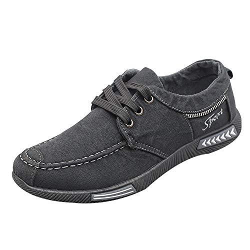 Homme Denim Canvas Chaussures de Skateboard Overmal Baskets Basses Mode Casual Respirantes Poids léger Comfortable Semelle Souple Antidérapant Lacets Chaussure de Sport Sneakers
