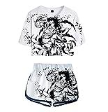 ZMZZF Chándales,Regalo De Anime My Hero Academia Camisetas De Mujer Con Estampado De Pantalones Cortos De Manga Corta 2 Piezas Ropa Deportiva Unisex Color 3 Blanco M