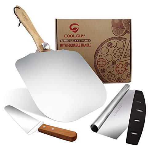 COOLGUY Aluminum Pizza Peel & Pizza Cutter & Pizza Server with Foldable Wood Handle, Convenient and Lightweight 12-Inch x 14-Inch, Gourmet Luxury Pizza Paddle for Baking Homemade Pizza Brea (L)
