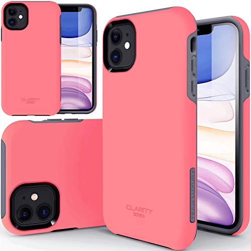 """TEAM LUXURY iPhone 11 Case, [Clarity Series] Ultra Defender Shockproof Hybrid Slim Protective Cover Phone Case for Apple iPhone 11 6.1"""" (Hot Pink/Gray)"""