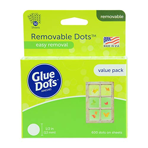 Glue Dots Double-Sided Removable Dots, 1/2'', Clear, Pack of 600 (8388)