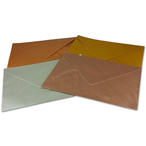 Metallic Briefumschläge Paket - 40 Stück - metallisch-glänzende Kuverts in DIN C5 Format 162 x 229 mm - Nassklebung - Post-Umschläge ohne Fenster