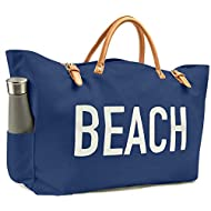 KEHO Fashion Beach Bag (Cute Travel Tote), Large and Roomy, Waterproof Lining, Multiple Pockets For Storage