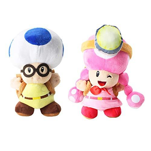 cgzlnl Super Mario Anime Cartoon Plush Toy, Mushroom Adventure Backpack Soft Stuffed Dolls Birthday Gift 2Pcs/Set 20Cm