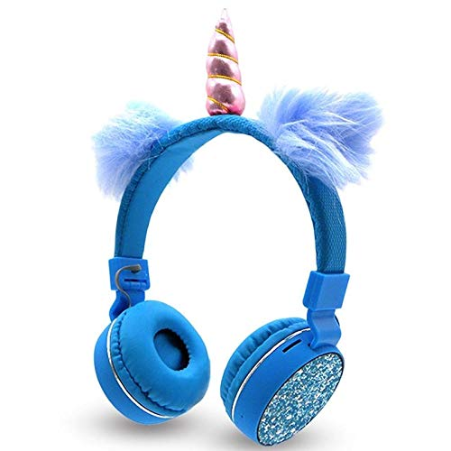 HCYA Unicorns Hoofdtelefoon Wireless Bluetooth Kids koptelefoon Opvouwbare Stereo Music rekbare Cartoon headset for Jongens Meisjes Gifts (Color : Blue)