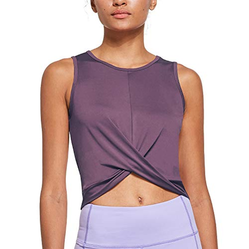 Ogeenier Workout Tank Tops for Women Athletic Yoga Cute Crop Tops Running Muscle Cropped Tank Tops,Purple,S