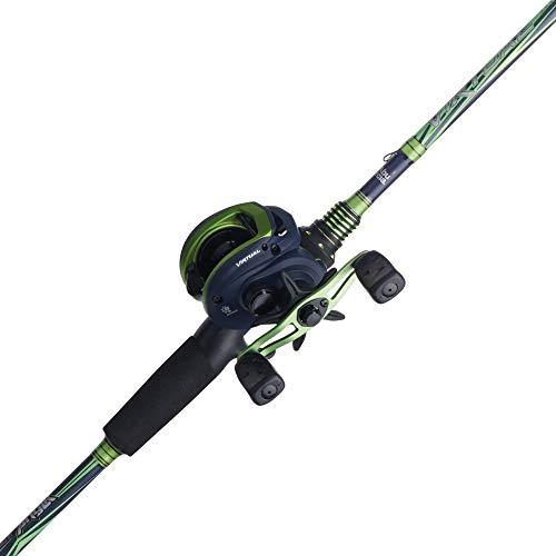 Abu Garcia Virtual Low Profile Baitcast Reel and Fishing Rod Combo, Green, 7'3