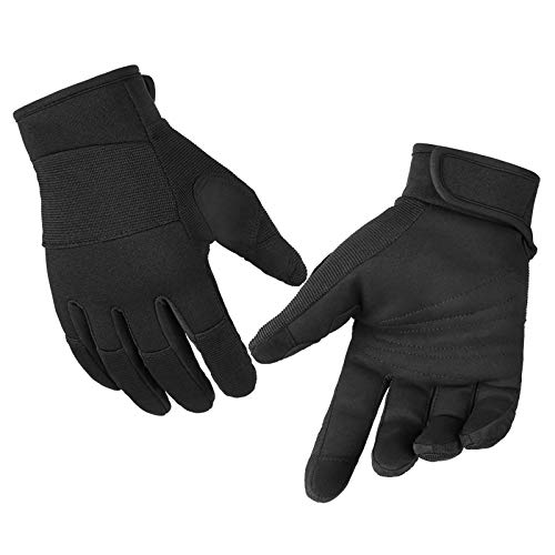 Synthetic Leather Work Gloves, Light Duty Work Gloves, Breathable and High Dexterity, Touchscreen Glove Black Medium 2 pairs