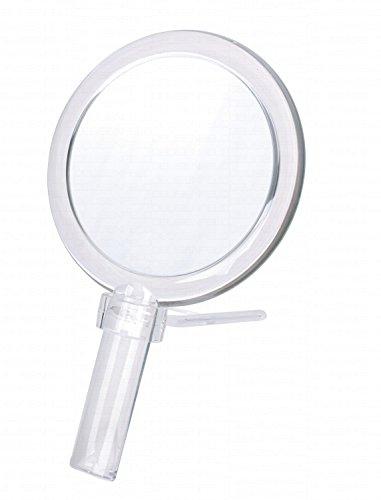 DEUSENFELD deusen Champ hks167 – Design Acrylique Miroir à Main Miroir cosmétique Miroir grossissant, Ø 16,2 cm, Miroir grossissant 7 Autre Côté Normal, Auget Pied