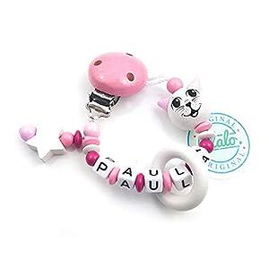 Baby Schnullerkette mit Namen, Katze, Rosa, Handmade Namenskette/Schnullerhalter zur Geburt, Geburtstag, Taufe für…