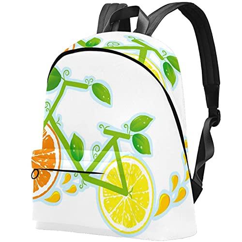 zaino bookbag daypack borsa da scuola escursionismo Laptop backpacking Borsa da viaggio all'aperto ad alta capacità e moda Borsa da lavoro Ruote per la salute della bicicletta Limone e arancia