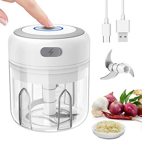 Mini Mixer Blender Hachoir Electrique Petit Mixeur Presse Ail Hachoir Hâchoir Légumes Coupe Oignon Ail, Multi-Hachoir pour Viande, Légumes