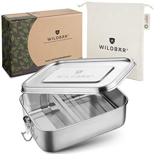 WILDBÄR® - Premium Edelstahl Brotdose mit Fächern - Metall Lunchbox auslaufsicher [1200ml] - Nachhaltige Bento Box als praktische Kinder Brotbox mit Trennwand - BPA- und plastikfreie Brotzeitbox