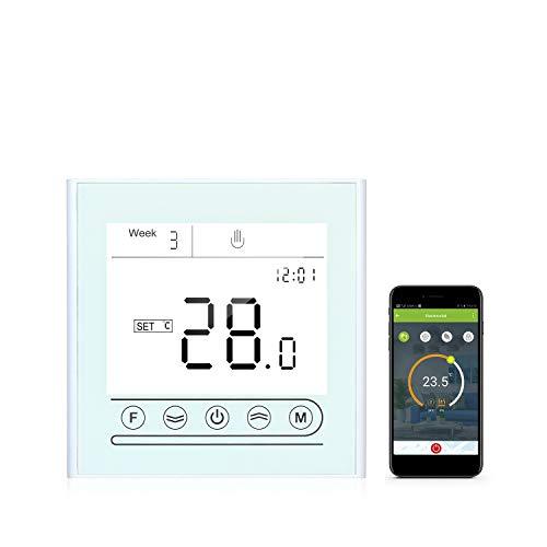 Termostato inteligente programable KKmoon Termostato WiFi Controlador de temperatura de termostato inteligente Tuya para calefacción eléctrica compatible con Alexa Google Home Pantalla táctil