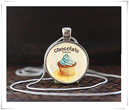 heng yuan tian cheng chocolade Cupcake ketting, Cupcake hanger, Cupcake sieraden, chocolade liefhebber geschenk, Cupcake liefhebber, glazen koepel hanger