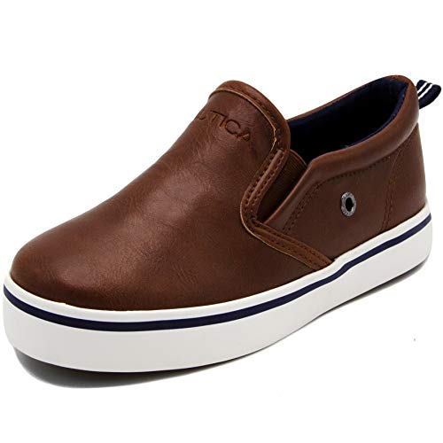 Nautica Akeley Toddler Canvas Sneaker Slip-On Casual Shoes-Brown Smooth -12