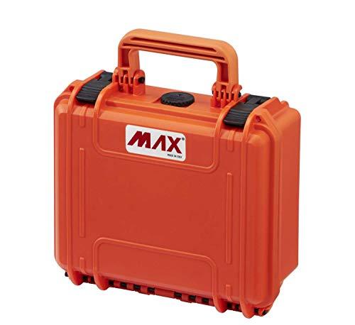 MAX Cases - Valigetta Vuota a Tenuta Stagna, Ermetica per Trasportare e Proteggere Apparecchiature e Materiali Sensibili, MAX235H105V Arancione, Dimensioni Interne 235 x 180 x 106 mm