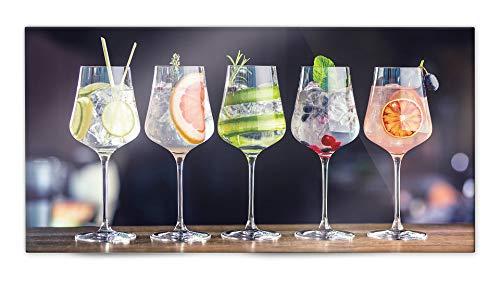Glasvision | Küchenrückwand aus Glas | Spritzschutz | Memoboard | Herdabdeckplatte (80 x 40 cm, Fruity Gin)