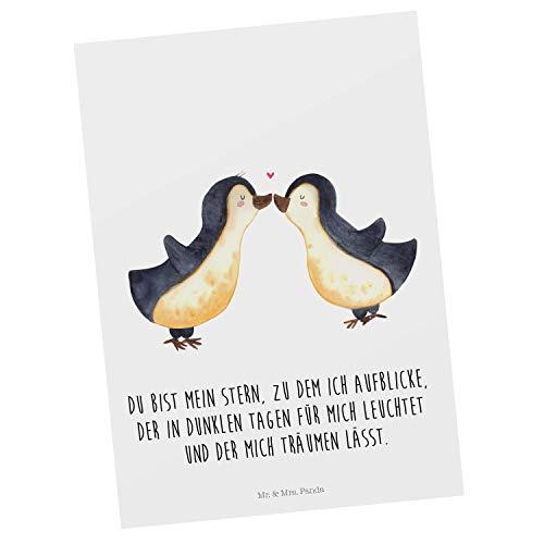 Mr. & Mrs. Panda Karte, Einladung, Postkarte Pinguin Liebe mit Spruch - Farbe Weiß