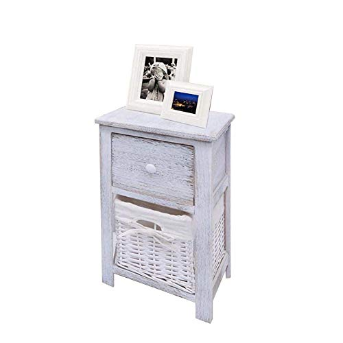 NMDD 2 x Wooden Bedside Table with 1 Drawer and 1 Wicker Basket for Bedroom, Living Room, Hallway, Office, White, 28 x 31 x 45 cm