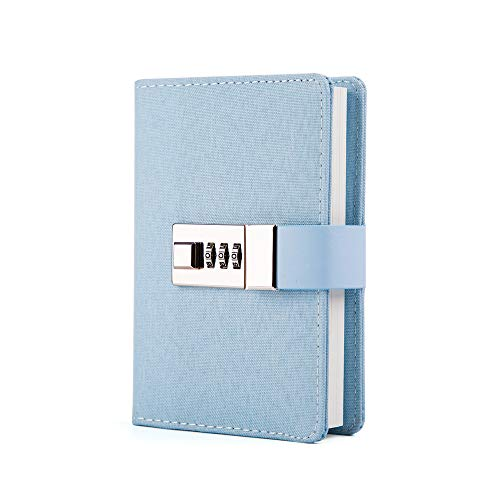 Lock Journal Combination Lock Writing Travel Diary a7 Mini Notebook Blue