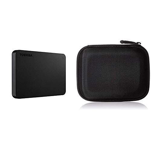 Toshiba Canvio Basics - Disco Duro Externo, 2.5 Pulgadas (6.4 cm), Negro, 2 TB & Amazon Basics - Funda para Disco Duro Externo, Color Negro, 13.2 x 10.5 x 3.8 cm