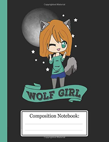 Composition Notebook: Cute Anime Wolf Girl Chibi Japanese Anime College Ruled 110 Pages