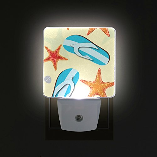 2 PC Plug-in LED Night Lights with Yellow Beach Starfish Flip Flop Nightlights with Dusk to Dawn Sensor White Light Perfect for Bathroom Kitchen and Hallway Set 2
