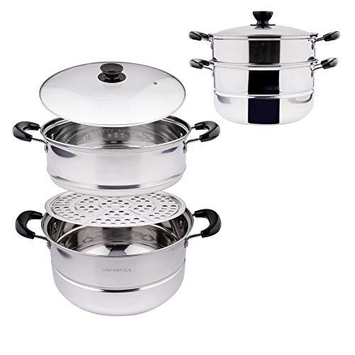 2 Tier Stainless Steel Stackable Cookware Food Steamer Pot For Cooking Pots/Saucepan Set 4 pc w/Rack & Basket Tray, Dumpling Steamer, Vegetable Steamer 30cm/ 24qt BY Lake Tian