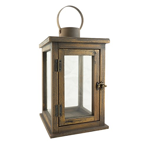 Stonebriar SB-5174B Rustic 12.5' Wooden Candle Lantern, Large, Brown