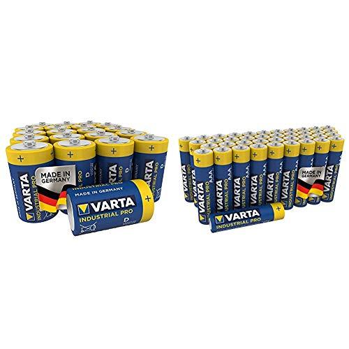 Varta Industrial Pro Batterie D Mono Alkaline Batterien LR20 (20er pack) und Industrial Pro Batterie AAA Micro Alkaline Batterien LR03 (umweltschonende Verpackung (40er Pack), Design kann abweichen)