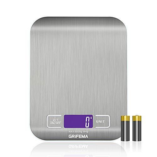 GRIFEMA - Báscula de Cocina con Pantalla LCD, Digital , Acero Inoxidable [Exclusivo en Amazon]