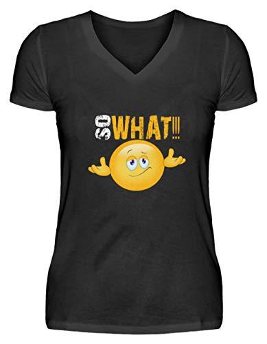 SPIRITSHIRTSHOP So What - Camiseta para mujer con cuello en V Negro M