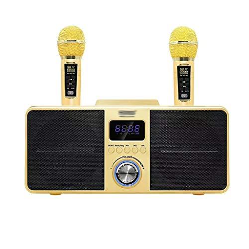 YWSZJ Dual Wireless Microphone Bluetooth Speaker Mobile Wireless Karaoke Wireless Stereo Black 30W Speaker Set (Color : Yellow)