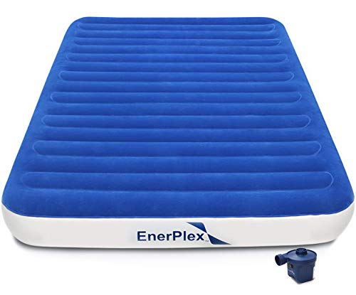 EnerPlex High Speed Wireless Queen Air Mattress for Camping Rechargeable Technology Queen Airbed with Pump Inflatable Camper Blow Up Bed for Home Travel 2-Year Warranty