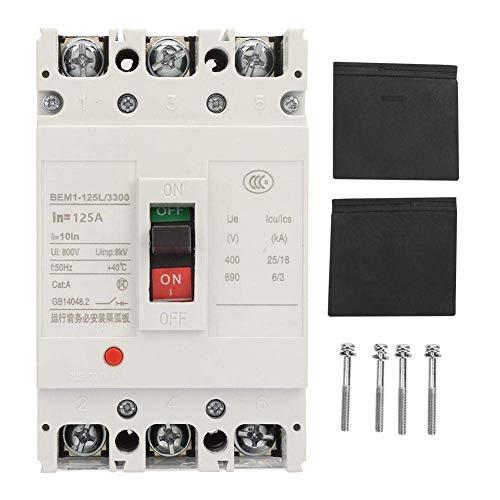 MOZUSA Circuit Breaker, Interruptor 3P Caja Plástico Integrado Aire Interruptor automático con Todo el Cobre de contactos (125A) Herramientas industriales