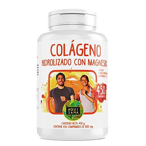 Colágeno Con Magnesio | Colágeno Hidrolizado Con Magnesio y Calcio | Colágeno con vitamina C y vitamina D para ayudar a la energía del día a día | 450 Comprimidos - Aquisana