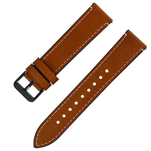 Fullmosa 6 Colori per Cinturino di Ricambio, Wax Pelle Cinturino con Quick Release Pin 14mm 16mm 18mm 20mm 22mm 24mm, 20mm Marrone Chiaro + Fibbia Grigia fumé