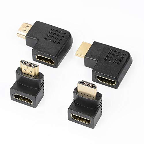 J&D 4 Pezzi Adattatore HDMI da Angolo, Maschio a Femmina 90 Gradi e 270 Gradi Angolo Retto e 90 Gradi Sinistra e Retto Angolo Adattatore HDMI Piatto Verticale con Connettori Placcati in Oro